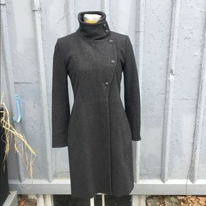 rag & bone for intermix gray wool car coat, size 2
